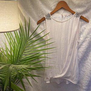 White embellished chiffon tunic